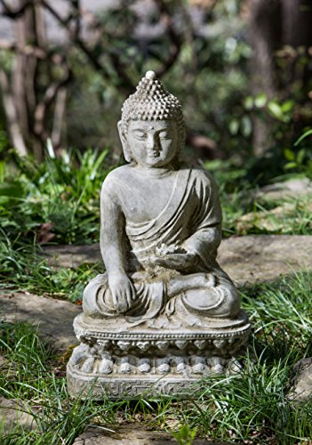 Campania International OR-134-AS Seated Lotus Buddha Statuary, Alpine Stone Finish