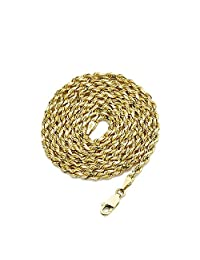 "14k Yellow Gold 3mm Diamond Cut Rope Chain Necklace, Mens Womens with Lobster Lock 18"" 20"" 22"" 24"" 26"""