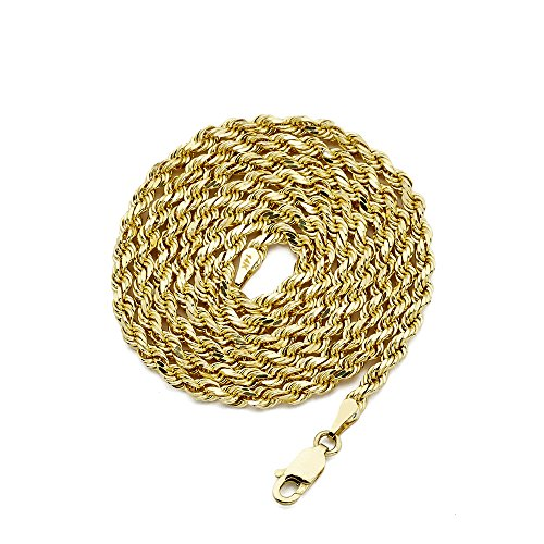 LOVEBLING 14K Yellow Gold 3mm Diamond Cut Rope Chain Necklace, Mens Womens with Lobster Lock (18) ()