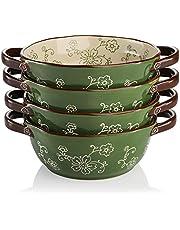 AVLA 4 Pack Ceramic Soup Bowls, 22 Ounces Porcelain Serving Bowl Set with Double Handle, Ceramic Soup Pot for French Onion Soup, Stew, Pasta, Cereal, Pot Pies ( Green )