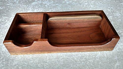"XL Nat Walnut Wood Valet Box Phone Tray and Desk Organizer 14.5"" x 6.5"" x 2 .11/16"""