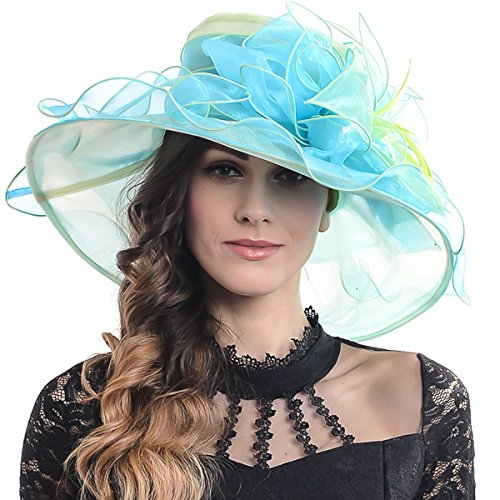 Wimdream Derby Hats for Women,Ladies Church Wedding Tea-Party-Wide-Brim-Organza-Hat-S019 (S037-Pale Green with Light Sky Blue)