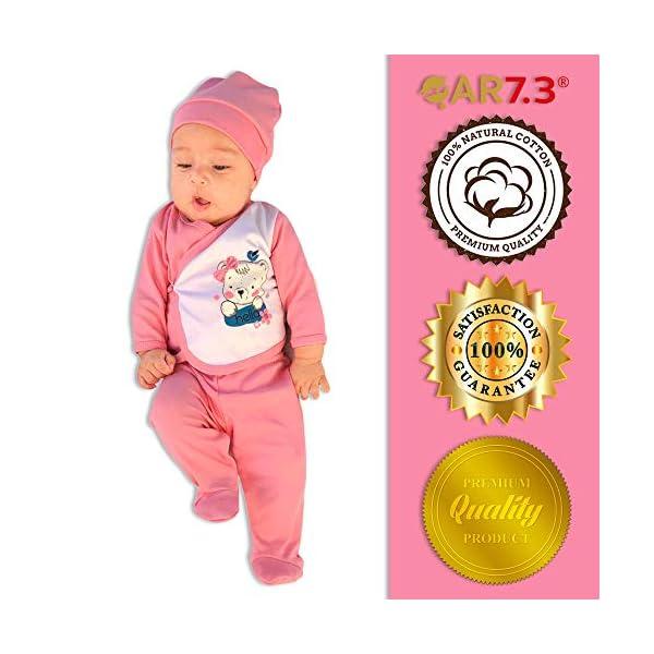 QAR7.3 Completo Vestiti Neonato 0-3 mesi - Set Regalo, Corredino da 5 Pezzi: Body, Pigiama, Bavaglino e Cuffietta (Rosa… 4