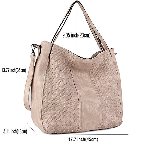Handbags Shoulder PU Purse Bags Hobo Z Shop Large Fashion Women Bags Leather Weave Handbags Khaki CASELAND awSx5qAX0