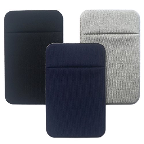 Adhesive Phone Wallet, Elastic Fabric Cell Phone Card Holder for All Smartphones & Cases - 3 Pcs (Black/Blue/Grey)