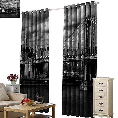 (WinfreyDecor New York Bedroom Curtain Black and White Panorama of New York City Skyline with Focus on Manhattan Bridge Photo Noise Reducing W72 x L96)