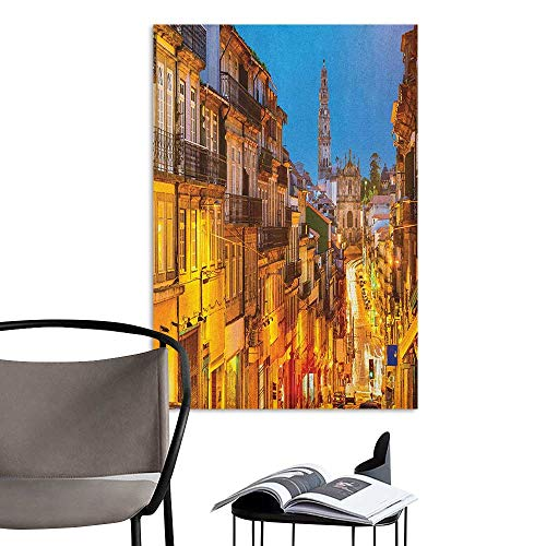 (Camerofn Art Decor 3D Wall Mural Wallpaper Stickers European Cityscape Toward Old Buildings in Porto Mediterranean Town Streets Scenic Image Multicolor Elevator Stairs Wall W20 x H28)