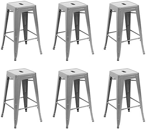 BELLEZE 26-inch Counter Stools Height Stackable, Silver Set of 6
