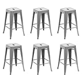 Belleze 26-inch Metal Counter Stools Stackable, Silver (Set of 6)