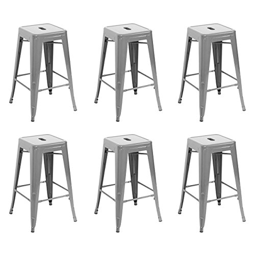 Belleze 26-inch Metal Counter Stools Stackable, Silver (Set of 6) ()