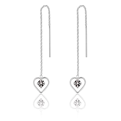 DTPSilver - 925 Sterling Silver Crescent Moon and Star Pull Through Earrings jXJqkc