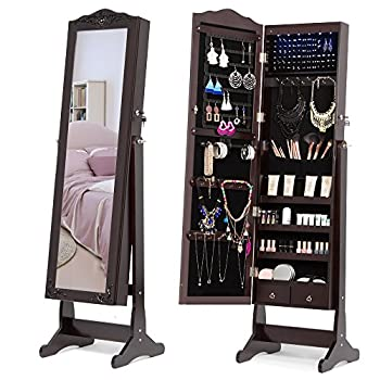 NEX Lockable Jewelry Armoire with Full-Length Mirror, 6 LED and 2 Drawers, Exquisite Carved, Dark Brown