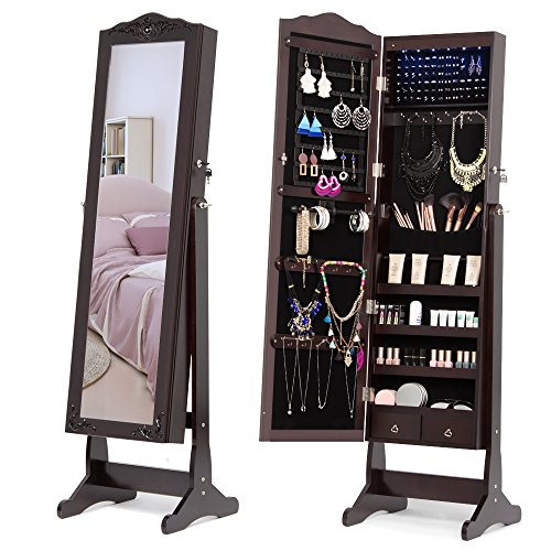 Doors Carved Glass (NEX Lockable Jewelry Armoire with Full-Length Mirror, 6 LED and 2 Drawers, Exquisite Carved, Dark Brown)
