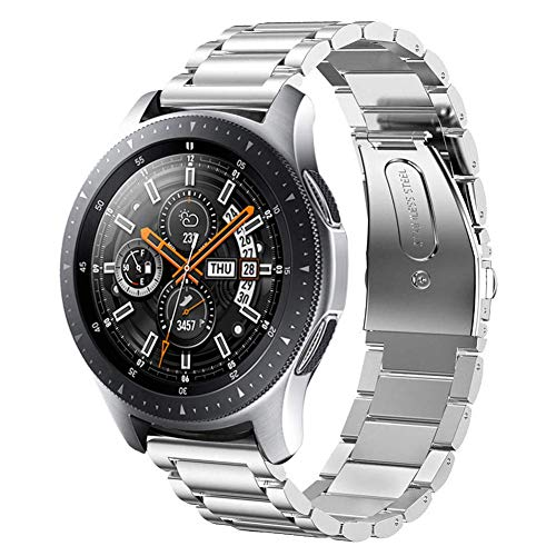 LINKWOW Compatible with Galaxy Watch 46MM Strap,22mmSilver Metal Strap Stainless Steel Watch Band Replacement for Samsung Galaxy Watch 46MM SM-R800/Samsung Gear S3 Frontier/Classic(46 Silver) ()