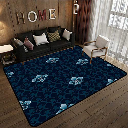 Armen Sonata Art - Kids Rugs,Fleur De Lis Decor Collection,Antique Pattern Royalty History and Royal Arms of France Symbolic Stylized Art,Navy Blue 35