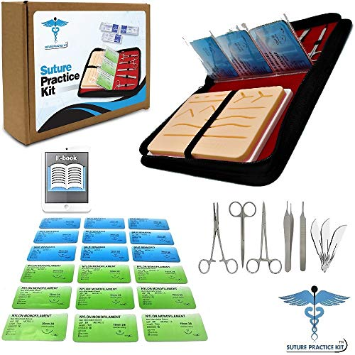 Pads Learn ([2019 New Case & Variety of Sutures w Slots] Suture Practice Kit w Suturing guide E-book, 4th Generation Pad, Tools Suture Needles by Medical Professionals For Residents Med Dental Vet School Students)