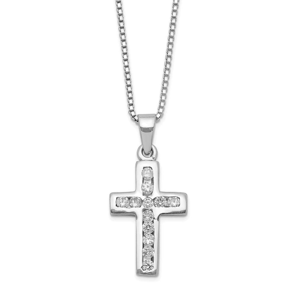 Sterling Silver CZ Cross Pendant with 16 Necklace