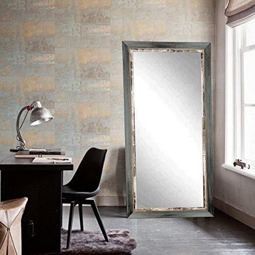 BrandtWorks BM021TS Weathered Harbor Tall Floor Mirror, 32'' x 66'', Weathered Gray Blue by BrandtWorks