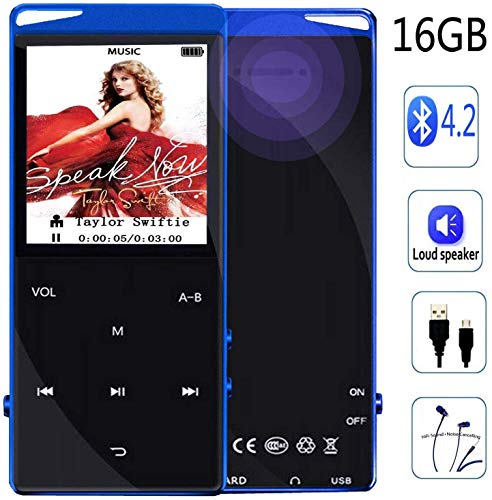Frehovy 16GB MP3 Player with Bluetooth, Portable Lossless Sound MP3 Music Player with FM Radio Voice Recorder Music Speaker, Support Up to 128 GB with HiFi Headphone ...