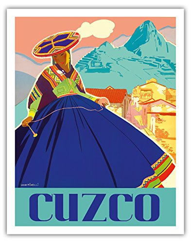 Cuzco, Peru - Machu Picchu - Peruvian Woman in Native Dress with Andean Drop Spindle - Vintage World Travel Poster by Agostinelli c.1947 - Fine Art Print - 11in x 14in