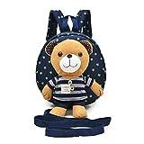 M2cbridge Cute Bear Toddler Anti-lost Backpack Small School Shoulder Bag Safety Harness (Blue bear B)
