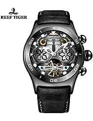 Reef Tiger Luminous Sport Watches Mens Black Steel Skeleton Dial Tourbillon Watch RGA703 (RGA703-BBB)
