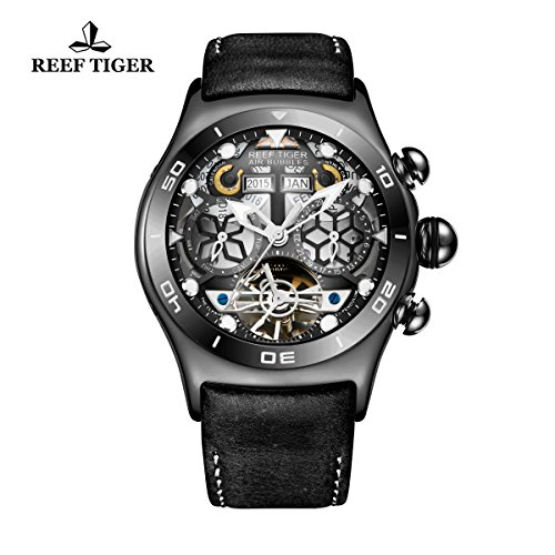 Reef Tiger Sport Mens Black Steel Skeleton Dial Tourbillon Watch RGA703
