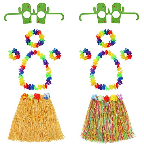 Hawaiian Hula Grass Skirt Set with Flower Necklace Bracelets Headband and Cactus Glasses Girls Elastic Grass Skirt Kids Dance Supply Costume Party Decoration 2 Sets (Straw Color Mixed Color) 12 -