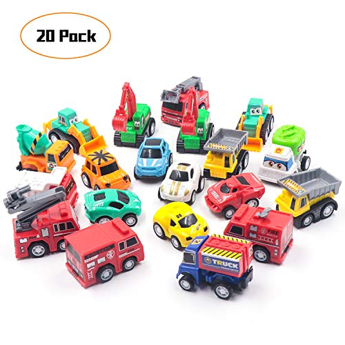 - FRETOD Pull Back Car 20 Pcs with Moveable Parts Construction Car, Fire Trucks and Racing Toys Mini Pull Back Car Set for Kids