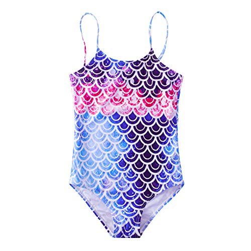 One Piece Halter Bathing Suit - Funnycokid 5T Fish Scale Swimsuit Adjustable Sport Halter Mermaid Bathing Suit One Piece Rashguard Swimwear for Beach Holiday