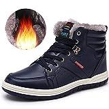 Quickshark Men Snow Boots Waterproof Winter Boots High Top Sneaker Outdoor Non-Slip Snow Shoes Fur Lining (8.5 D(M) US = EU 42, 4-Blue)