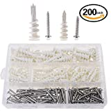 Hilitchi 200 Pieces 2 Size Plastic Self Drilling Drywall and Hollow-Wall...