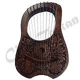 Engraved Lyre Harp10 Metal Strings/Lyra Harp + Free Carrying Case,Tuning Key/Harfe