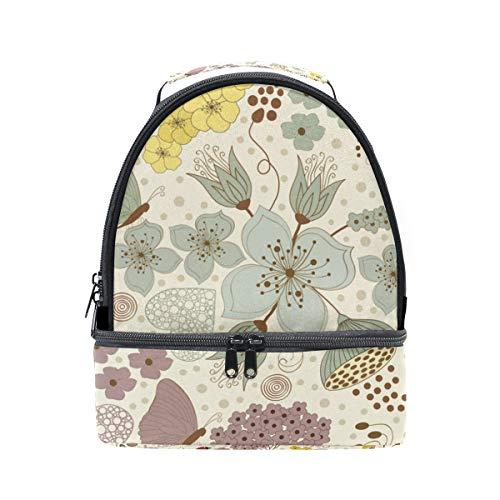 ajustable con la para floral escuela FOLPPLY almuerzo estampado pincnic de térmica el con para hombro correa para el Bolsa ZwA4qv8