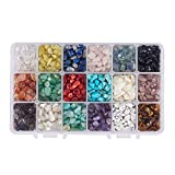 NBEADS 1 Box 18 Colors Chip Gemstone Beads, Natural Irregular Shaped Crushed Loose Beads for Bracelet Necklace Earrings Jewelry Making Crafts Design