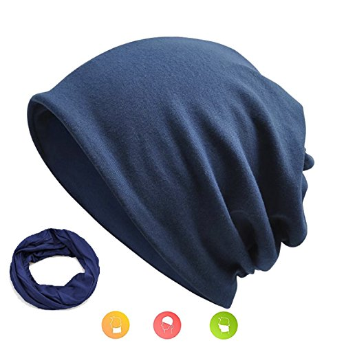 W&Y YING Summer Soft Knit Mens beanie for Women Cute Unisex Skull Cap Slouchy Beanie (Dark Navy) -
