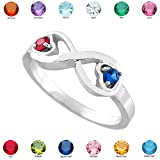 Fine 14k White Gold Mix-and-Match Dual Heart CZ Personalized Birthstone Infinity Ring (Size 6.25)