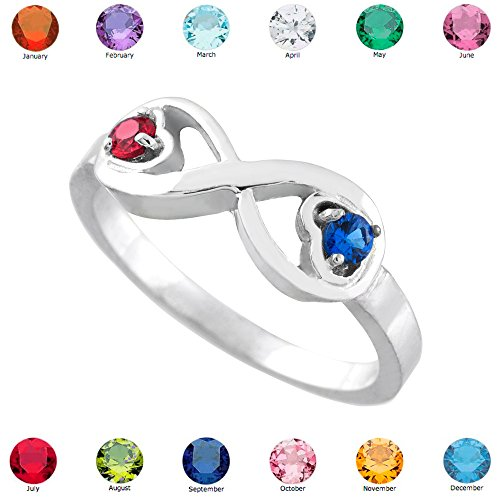 925 Sterling Silver Mix-and-Match Dual Heart CZ Personalized Birthstone Infinity Ring (Size 9)