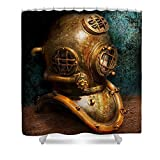 Pixels Shower Curtain (74'' x 71'') ''Steampunk - Diving - The Diving Helmet''