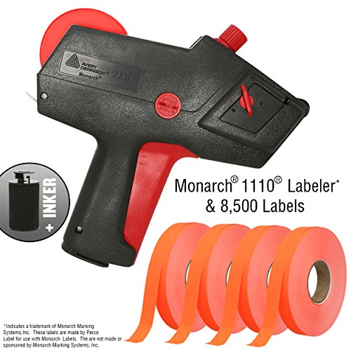 Monarch 1110 Price Gun With Labels Starter Kit: Includes Price Gun, 8,500 Fluorescent Red Pricing Labels, Label Scraper and Inker by Perco Label