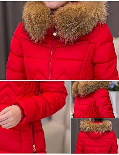 para Menschwear Mujer Rojo 11122 de Inflado Sintético Pelo Largo Capucha Abrigo Con rr1qwx