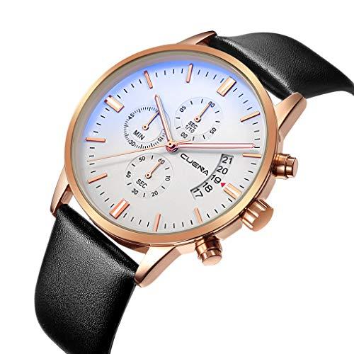Men's Stainless Steel Quartz Watch Leather Strap Sports Chronograph Waterproof Analog Quartz Watch Business Wristwatch with Date (I)