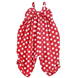 LELEFORKIDS Toddlers and Girls Happy-Bee Polka Dots Jumpsuit in Red 2T