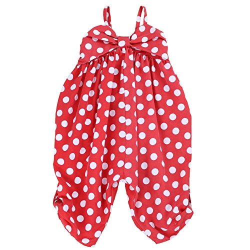 LELEFORKIDS - Toddlers and Girls Happy-Bee Polka Dots Jumpsuit in Red 4T