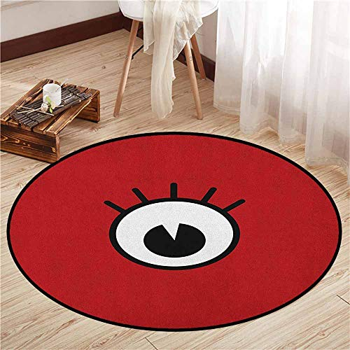 Round Carpet,Eyelash,Funny Cartoon Character Eye Monster Crazy Mascot Emotion Expression Comic,Super Absorbs Mud,5'3