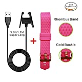 Fitbit Charge 2 Extra Long Wire Charger Cable 3.9ft/1.2M+Fitness Fitbit Wristband Gold Clasp Soft Diamond Bands,Barbie Pink Large