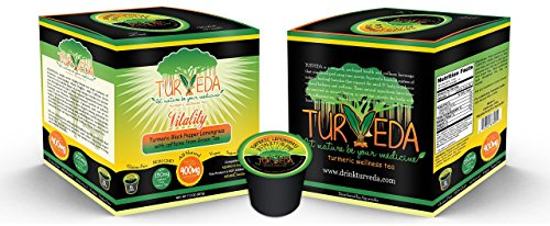 Turveda Golden Tea, Turmeric Lemongrass Tea for Keurig K-Cup Brewer, Green Tea Caffeinated, 95% Curcumin Supplement for Cardiovascular Support & Healthy Aging, 100% Natural,15 Single Serve Cups