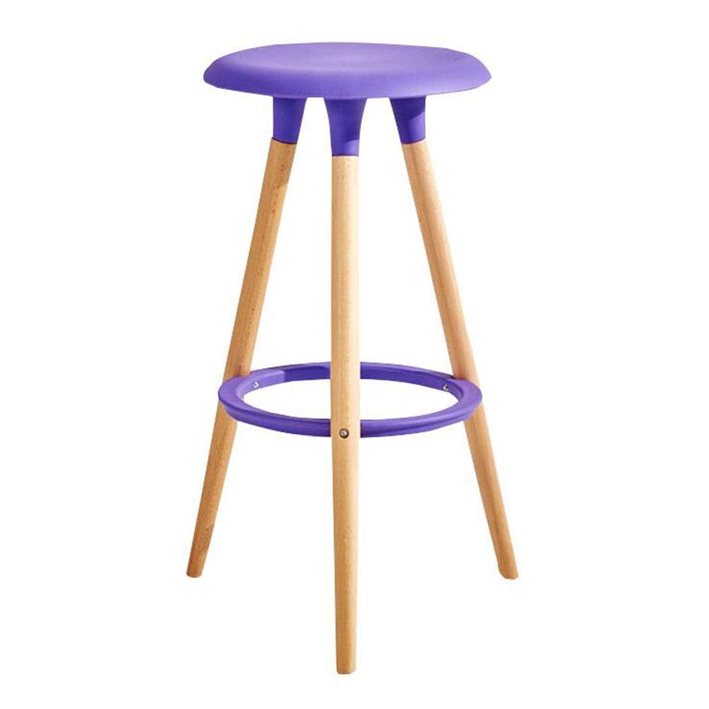 Purple Dall Bar Stool Solid Wood Restaurant Home High Stool PP Seat Modern Household Assembly 47×47×76cm, 6 colors (color   Red)