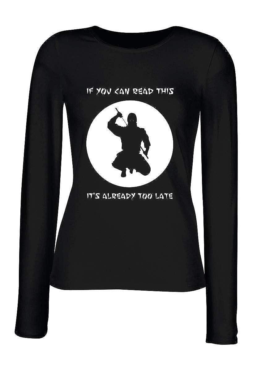 T-Shirt para Las Mujeres Manga Larga Negra TAM0139 Ninja IF ...