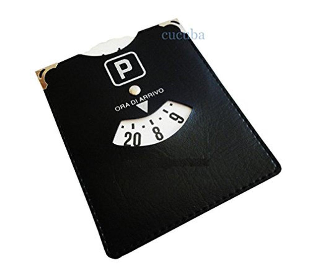 con texto /«ORA DI ARRIVO/» piel artificial Disco horario de aparcamiento Eighy Eight 13 x 11 cm